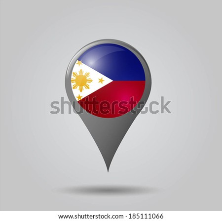 Map pointers with flag and 3D effect on grey background - Philippines - stock vector