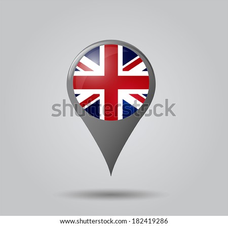 Map pointers with flag and 3D effect on grey background - United Kingdom - stock vector
