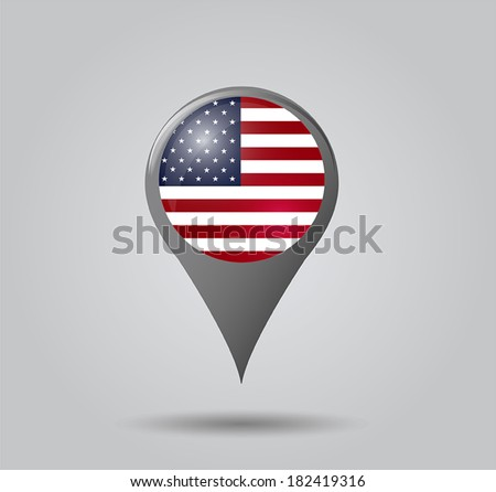 Map pointers with flag and 3D effect on grey background - United States of America - stock vector