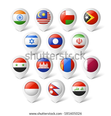 Map pointers with flags. Asia. - stock vector