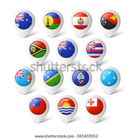 Map pointers with flags. Oceania. - stock vector