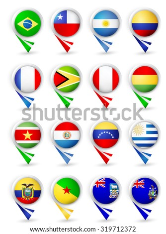 Map pointers with flags. South America all countries.