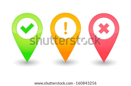 Map pointers with icons - stock vector