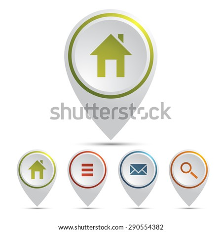 Map pointers with icons isolated on white background,  Blank buttons painted in popular colors.  New contemporary simple style.  Vector illustration internet design element 10 eps
