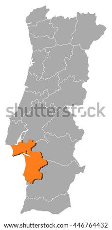 Map Portugal Setubal Stock Vector 446764432 Shutterstock