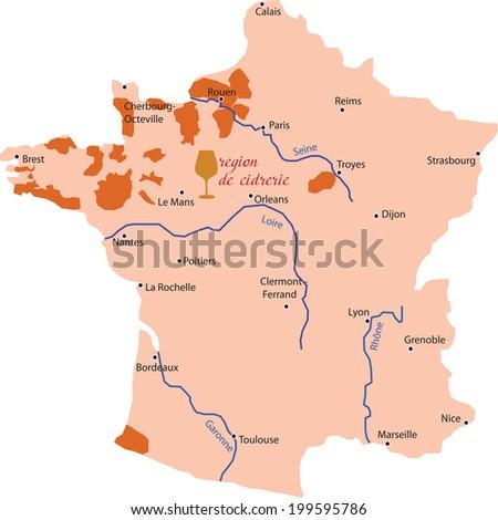 map region of  cidrerie in France  - stock vector
