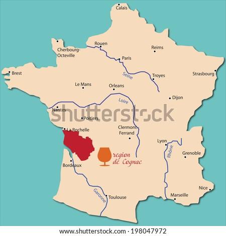 map region of Cognac in France - stock vector