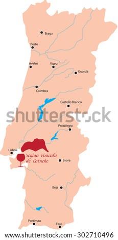 map region of coruche in Portugal - stock vector