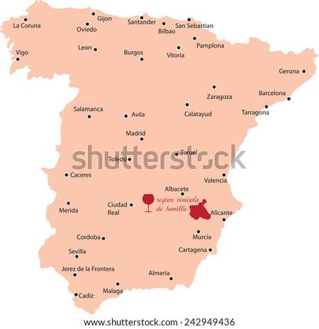 map region of jumilla in Spain - stock vector