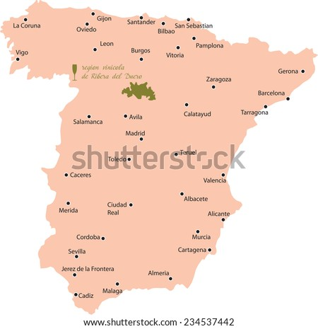 map region of Ribera del Duero in Spain - stock vector