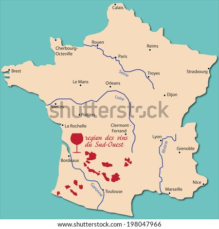 map region of Sud-Ouest in France - stock vector