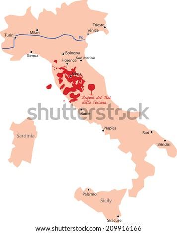 map region of toscana in Italy  - stock vector