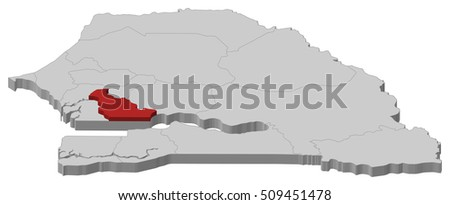 Map Senegal Kaolack 3dillustration Stock Vector 509451478 Shutterstock