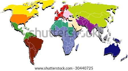 Map shows a world regions, etc Easter Europe - stock vector