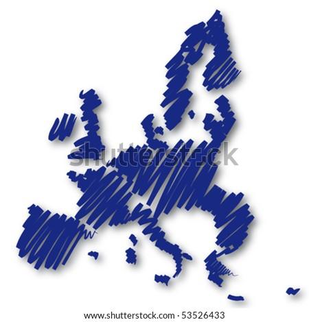 Map sketch Europe - stock vector