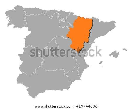 Map - Spain, Aragon - stock vector