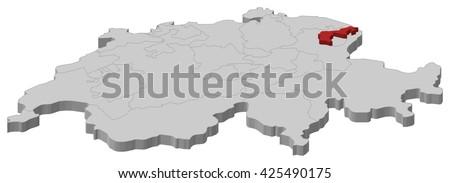 Map Swizerland Appenzell Ausserrhoden Stock Vector 425490175