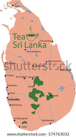 Map Tea Sri Lanka Stock Vector 574763032 Shutterstock