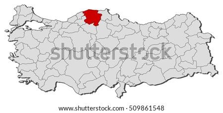 Map Turkey Kastamonu Stock Vector 509861548 Shutterstock