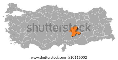 Map Turkey Malatya Stock Vector 510116002 Shutterstock