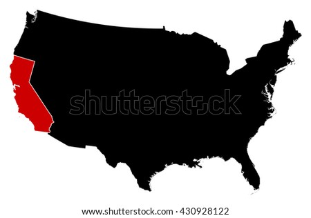 Map - United States, California - stock vector