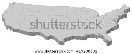 Map - United States - 3D-Illustration - stock vector