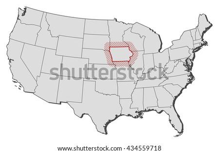Map United States Iowa Stock Vector Shutterstock - Us map iowa