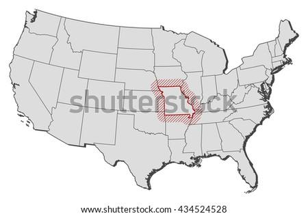 Map United States Missouri Stock Vector 434524528 Shutterstock