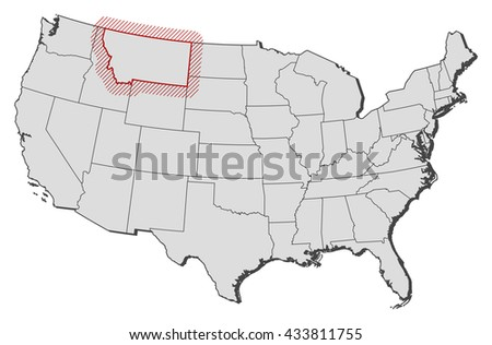 Map United States Montana Stock Vector Shutterstock - Montana us map