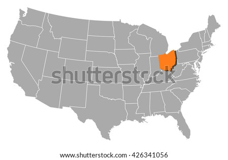 United States Vector Map Made Outline Stock Vector - United states map ohio
