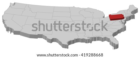 Map united states pennsylvania 3dillustration stock vector map united states pennsylvania 3d illustration sciox Image collections