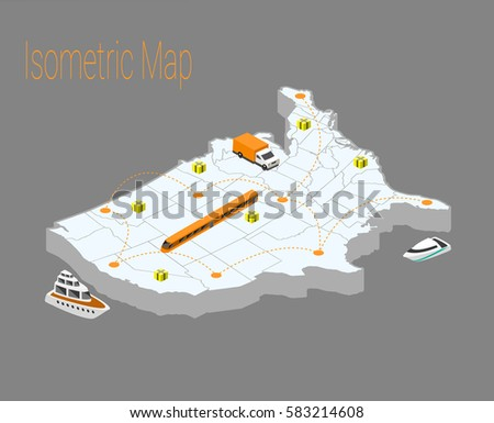 Map Usa Isometric Concept 3 D Flat Stock Vector 583214608 Shutterstock