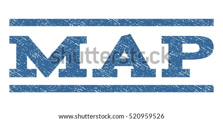 Map watermark stamp. Text tag between horizontal parallel lines with grunge design style. Rubber seal stamp with unclean texture. Vector cobalt blue color ink imprint on a white background.