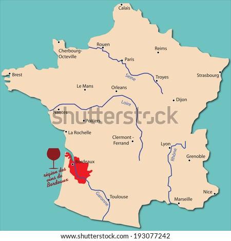 map wine region of Bordeaux in France - stock vector