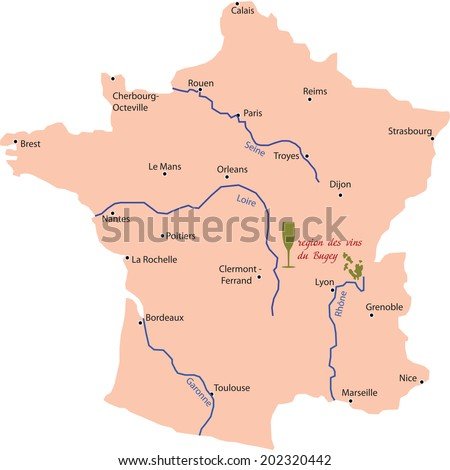 map wine region of bugey in France - stock vector
