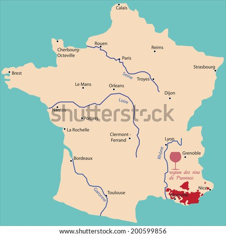 map wine region of provence in France - stock vector