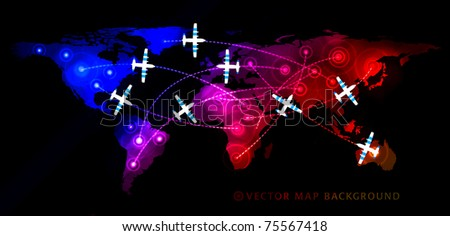 Map with airplane