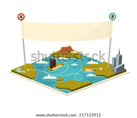 Map with banner. Vector illustration. - stock vector