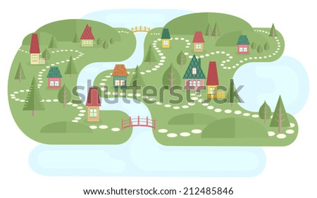 Map with fairyland. Vector illustration of landscape with small village near lake and river. Colorful houses, abstract trees and bridges. Cute pathways between houses. Map elements. Flat style. - stock vector