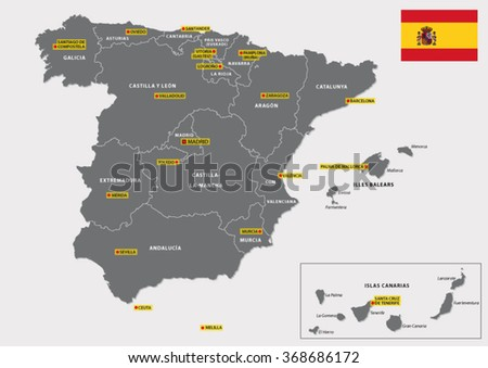 map with flag of the Spanish regions and their capitals