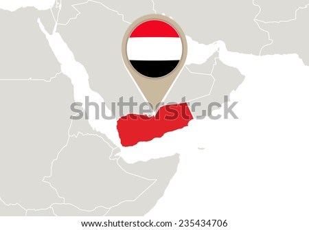 Map with highlighted Yemen map and flag - stock vector