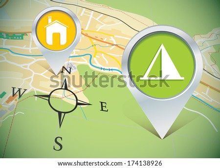 map with pins - vector illustration - stock vector