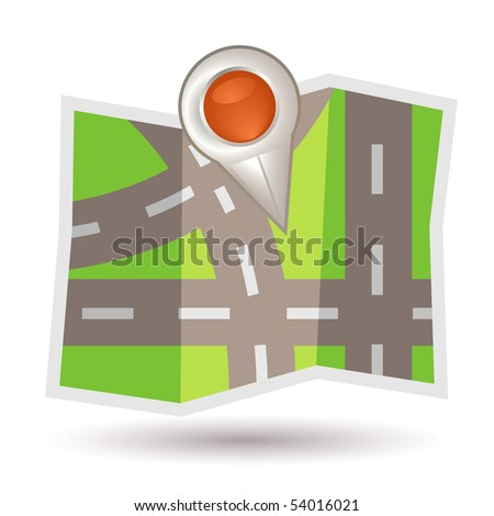 Map with pointer - stock vector