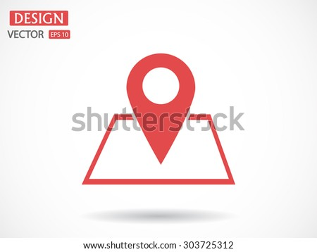 Map with pointer icon - stock vector