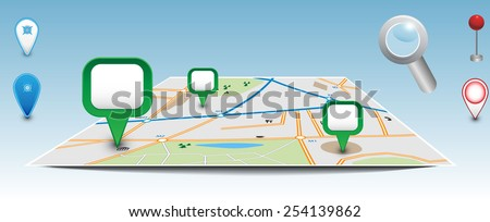 Map with pointers. Vector eps10. - stock vector