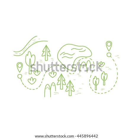 Map With The Hiking Route - stock vector