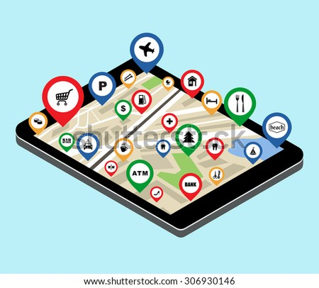 Map with the specified destination point on the tablet screen. City navigation app. Vector illustration - stock vector