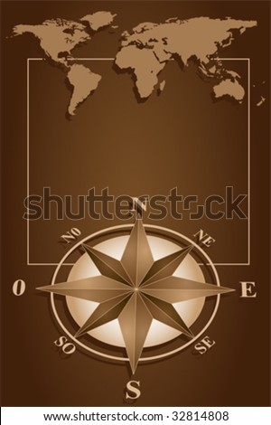 Map world and blank frame with compass rose, vintage style - stock vector
