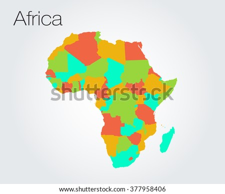Map world & countries colored borders. Africa.