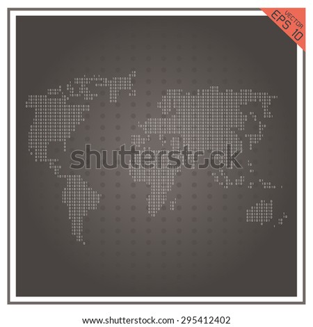 map world vector paper white on black  background